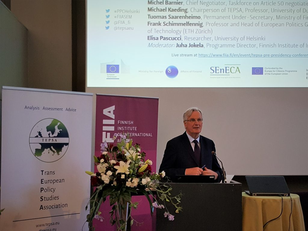 Michel Barnier holding Keynote Speech