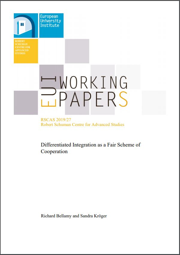 Publication Cover. Working Paper by Richard Bellamy and Sandra Kröger