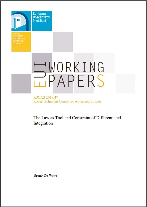 Publication Cover. Working Paper by Bruno De Witte