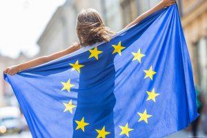 Girl with an EU flag